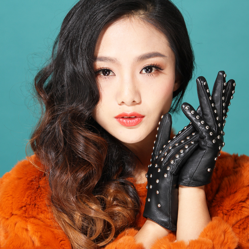 Driving gloves girl - Women 2016 Winter Driving Dancing Model Show Famous Band Dress Party Fashion Rivet Punk Genuine Leather