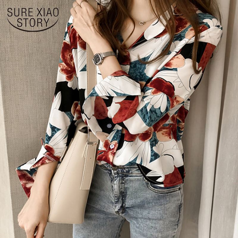 2018 Summer wear new Korean style chic printed   shirt   Women   blouse   long-sleeved   shirt   women top plus size 4XL slim fit 1176 40