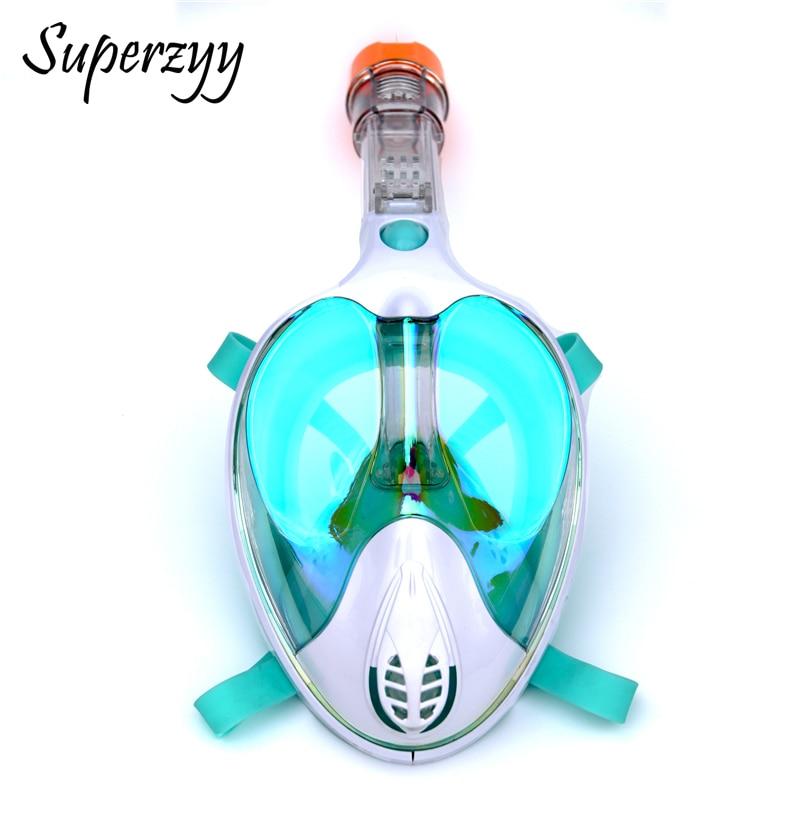 Alien professionnel masque de plongée sous-marine Anti-buée visage complet 180 degrés masque de plongée en apnée ensemble avec anneau anti-dérapant - 4