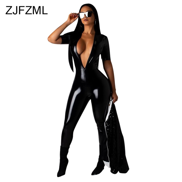 317c19b8f0c Bright PU Leather Sexy Black Bodysuit Women Deep V Neck Short Sleeve Skinny  One Piece Overall Casual Biker Romper Women Jumpsuit