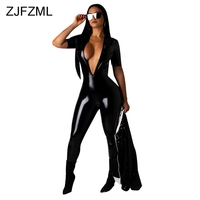 Bright PU Leather Sexy Black Bodysuit Women Deep V Neck Short Sleeve Skinny One Piece Overall Casual Biker Romper Women Jumpsuit