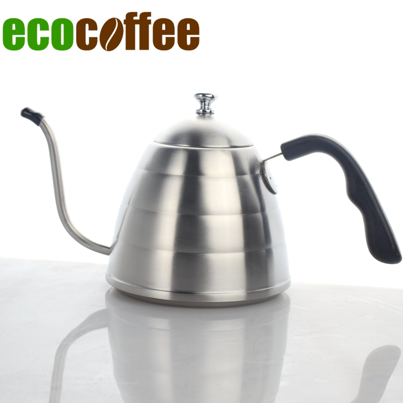 Freeshipping 304 Stainless Steel Pour Over Drip Coffee Kettle Teapot 900ML Hot Water Server V60 Coffee Pot 2018 New Percolator