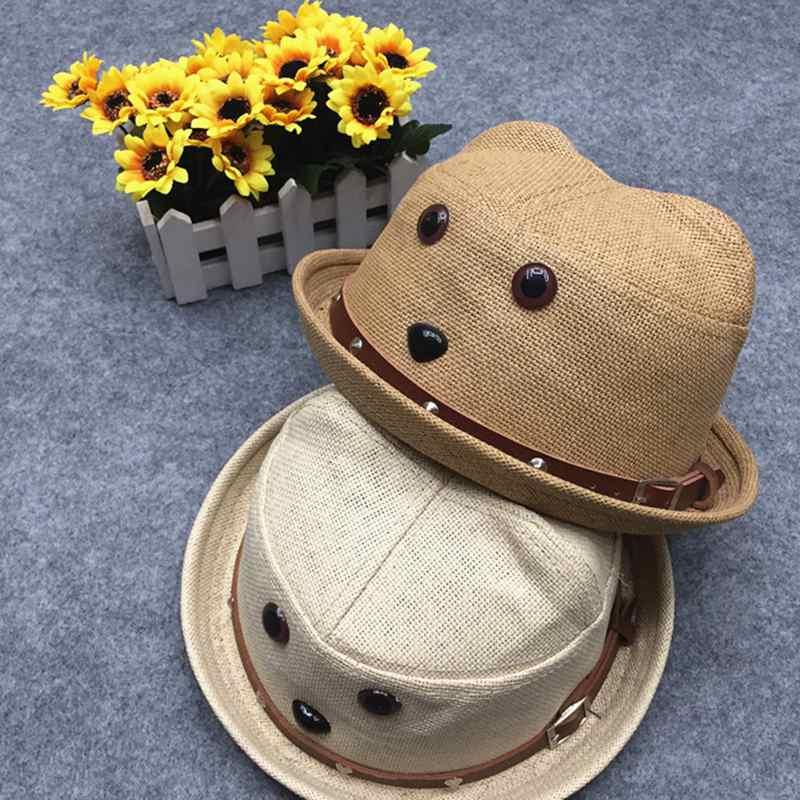 Été chapeau de paille mode bébé garçons fille mignon chapeau casquette enfant coton chapeau de soleil fille Kid Jazz plage chapeaux 3 couleurs casquette Fit pour 2-8Y
