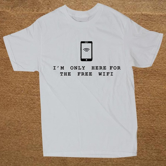 58b00380 Brand Clothing I'm Only Here For The Free Wifi INTERNET GEEK Funny T Shirt