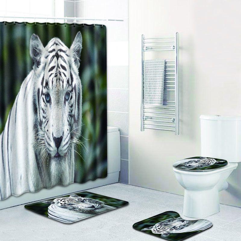 The Siberian Tigers Waterproof Fabric Home Decor Shower Curtain Bathroom Mat