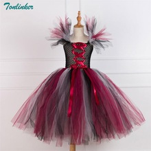 Tonlinker Evil Queen Girls Tutu Dress with Halloween Cosplay Black Costume for Kids Party Children Clothing 2018 New