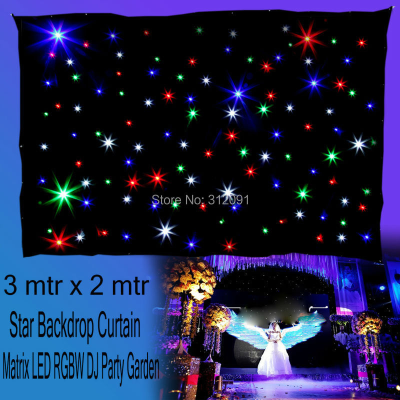 цены (Ship from Germany) 3m x 2m RBG LED Matrix Star Backdrop Curtain Light DMX DJ Stage Wedding Party Xmas