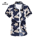 2016 Summer Beach Cool Casual Comfortable Mens Thin Short Sleeve Printed Flower Shirt M-7XL High Quality Chemise Homme,YK UNCLE