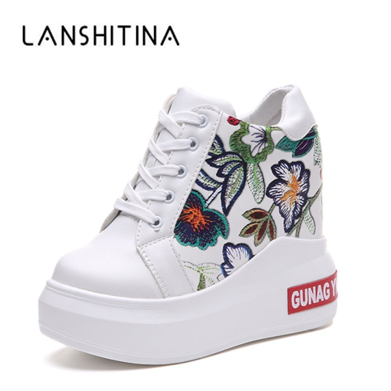 2018 Summer Women High Platform Shoes Height Increasing Ladies Sneakers Spring Trainers Pu Leather Shoes Breathable Casual Shoes
