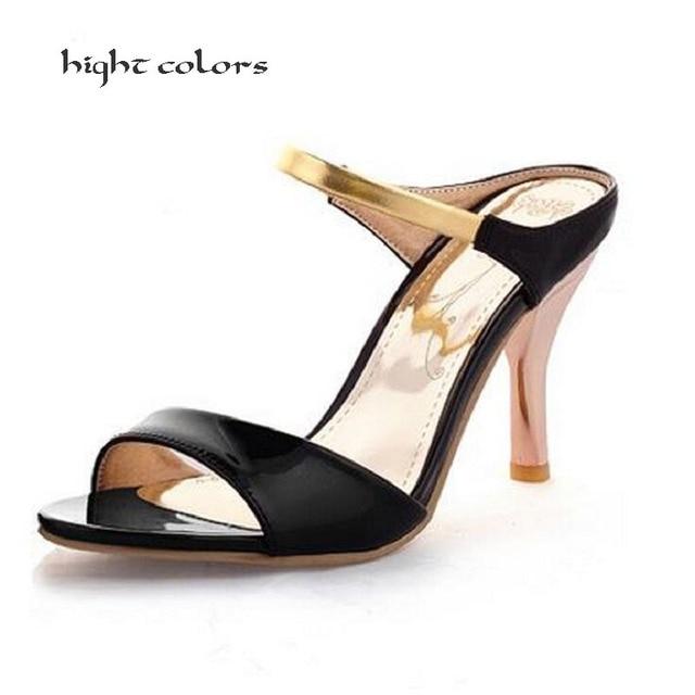 b782aca405 Nova Chegada 2019 Verão Peep Toe Doces Sandálias Da Moda das Mulheres  Sapatos de Salto Fino