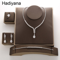 Hadiyana New Luxury AAA Cubic Zirconia Copper Jewelry Set Shiny Water Drop Ladies Necklace Earring Bracelet Ring Sets TZ8085