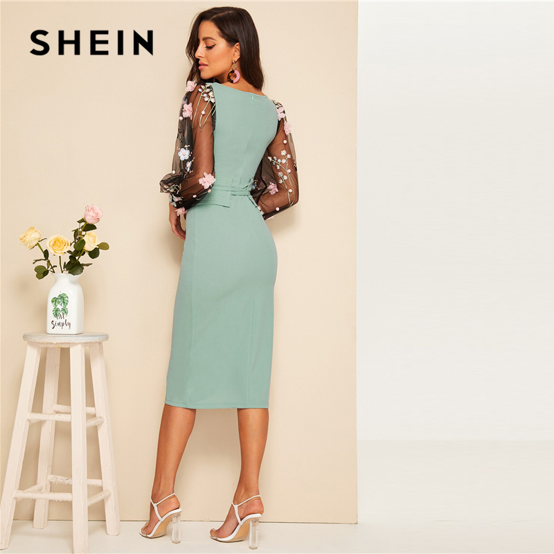 Shein 3D Corset Belted Pencil Dress Women's Shein Collection