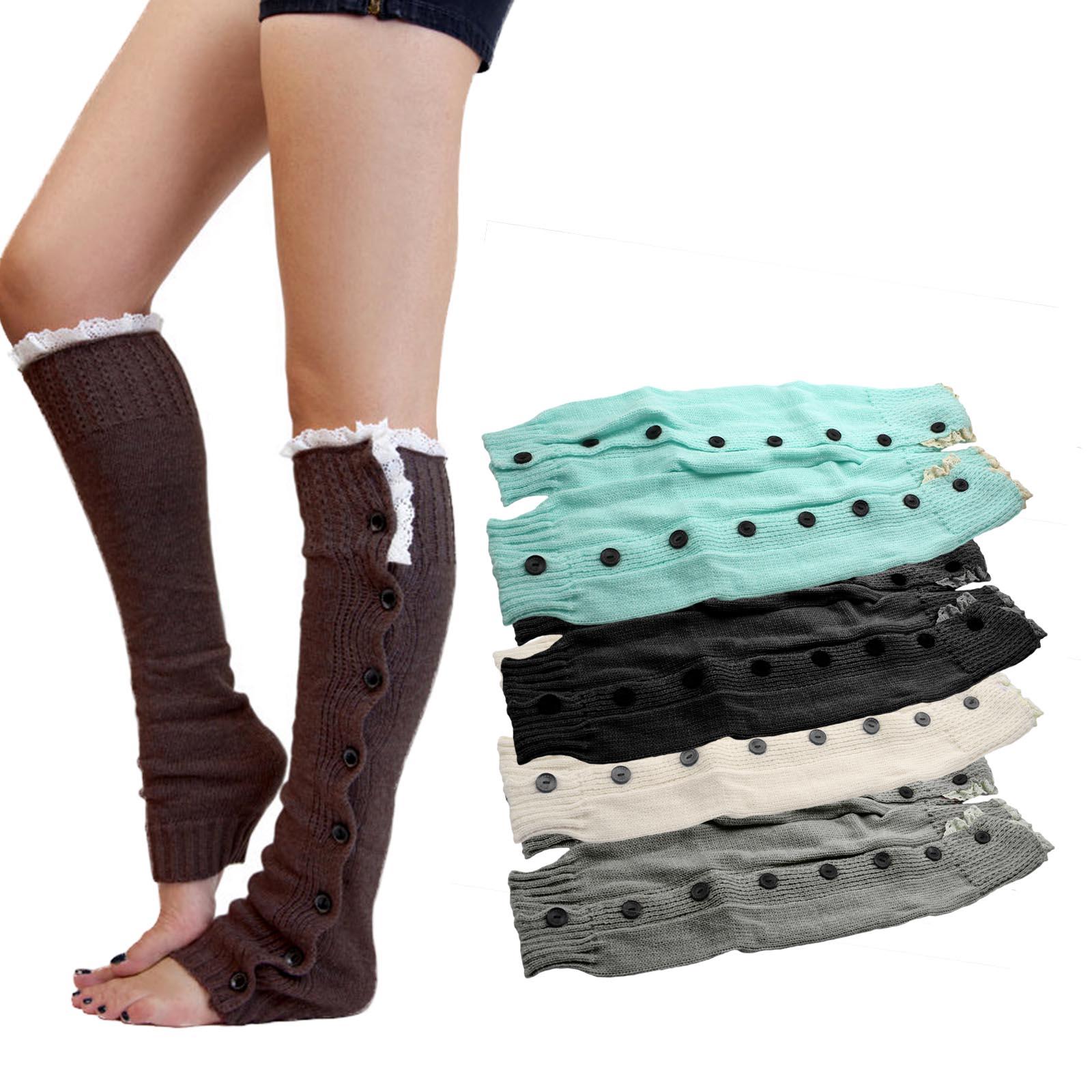 っ1 par de rodilla Encaje ajuste de punto Boot cover Calcetines ...