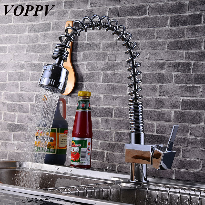 VOPPV Kitchen Pull out Sink Mixer Spring Faucet All for Kitchen Cold and Hot Water 360 Degree Rotation Single Holder Single Hole accoona kitchen faucet kitchen pull out single hole ceramic plate 360 rotate contemporary faucet sink cold hot water a9590