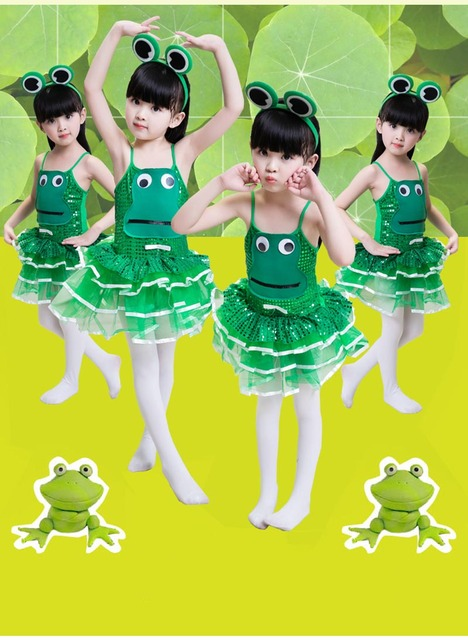 children frog costume green sequin dancewear girl boy toddler cute cartoon wearing frog prince halloween costume