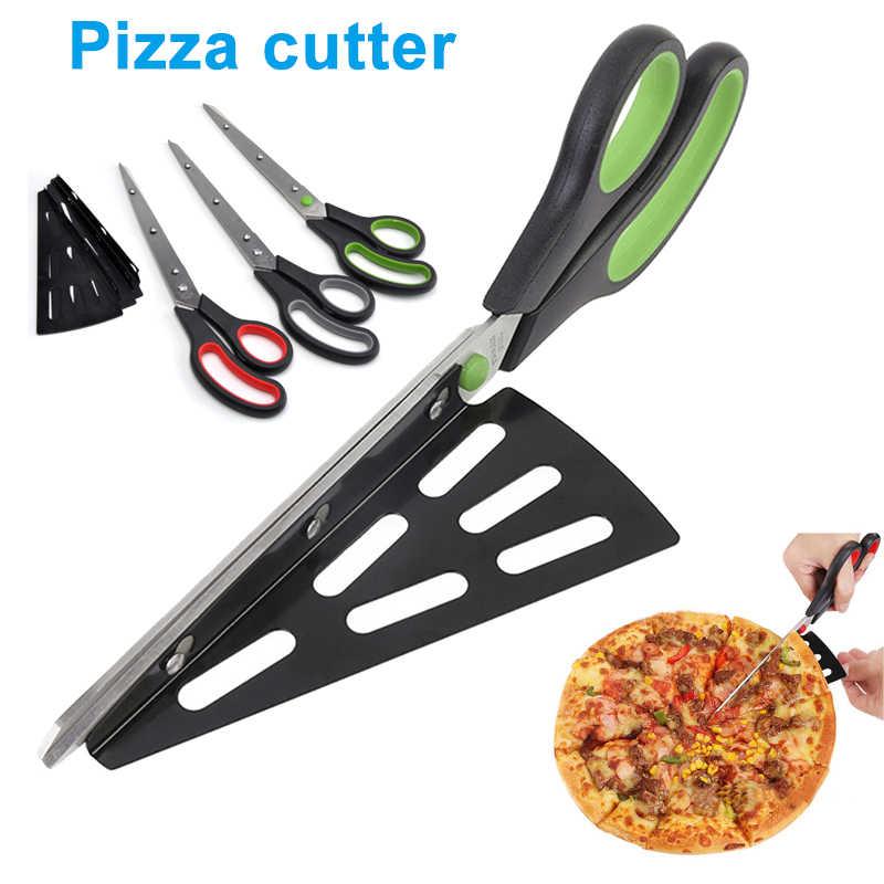 1 Pcs Pizza Gunting Cutter Stainless Steel Gunting Memotong Pizza dengan Dilepas Spatula MAL999