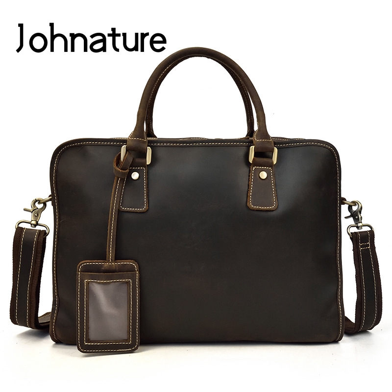 Johnature 2020 New Crazy Horse Leather Briefcase Vintage Commuter Handbag Multipurpose Mens Leather Computer Bags Business Bag