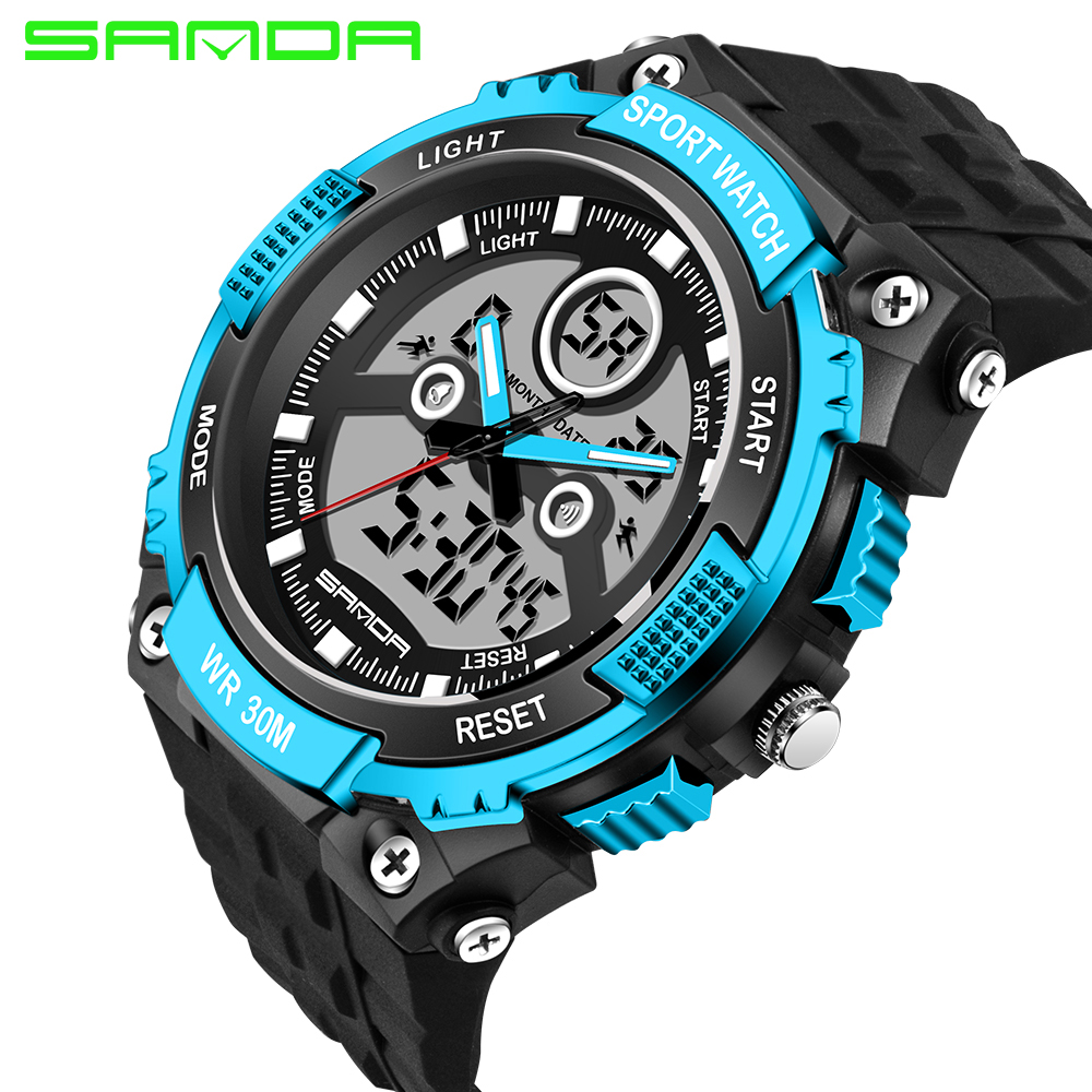 2017 SANDA Brand font b Watch b font Men Sports font b Watches b font LED