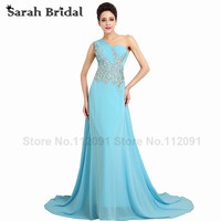 Sexy See Through Evening Dresses One Shoulder 2016 Hot Sale Sky Blue Chiffon Long Prom Gowns