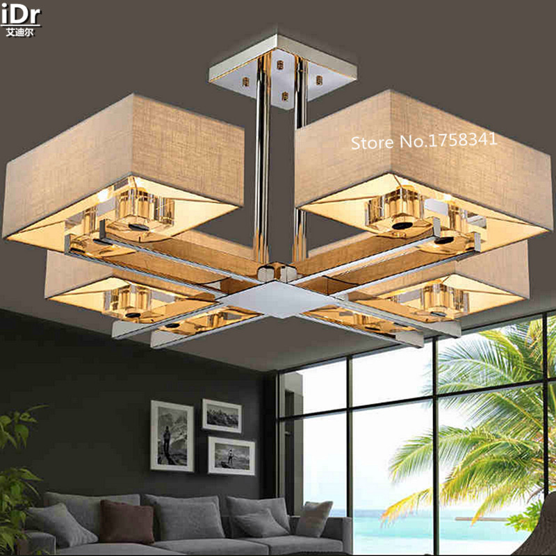 цена на living room Crystal chandeliers rectangle rectangular lights new Chinese modern minimalist creative stainless steel led lamps