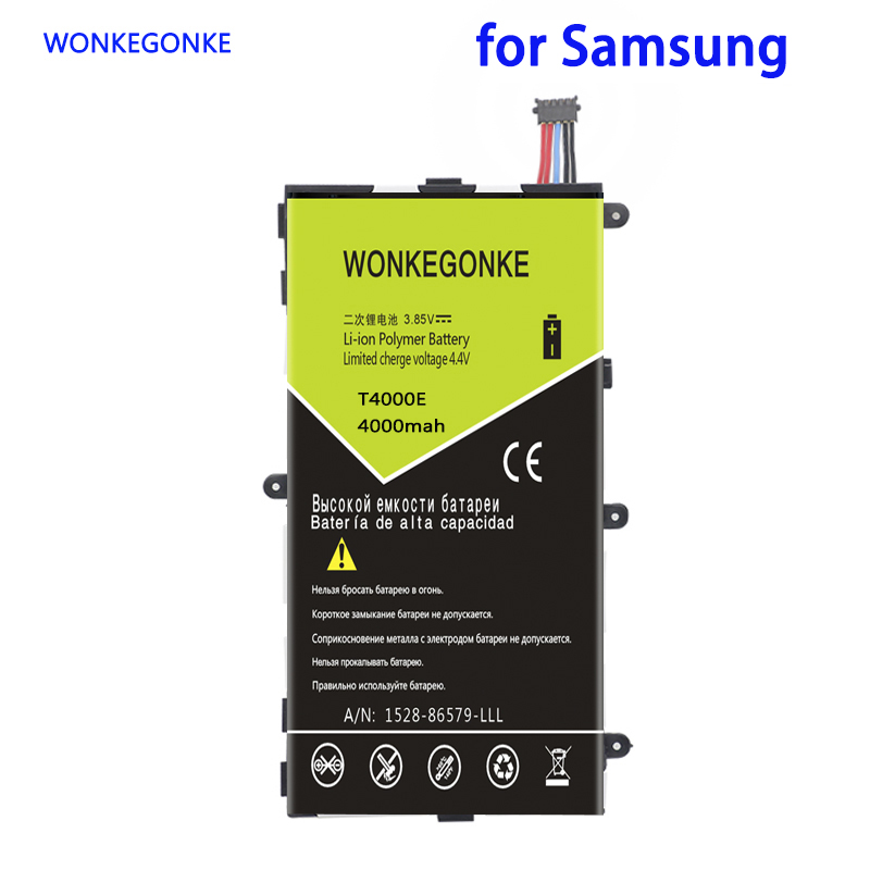 WONKEGONKE 4000mah <font><b>T4000E</b></font> Battery For Samsung Galaxy Tab Tablet 3 7.0 T210 T211 T215 T217A T2105 T210R P3200 P3210 Batteries image