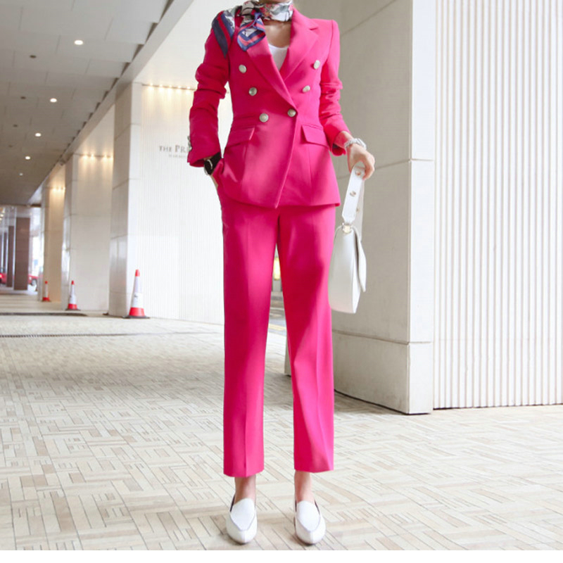 New hot women's women's pink double breasted suit two piece suit (jacket + pants) women's business formal office suit