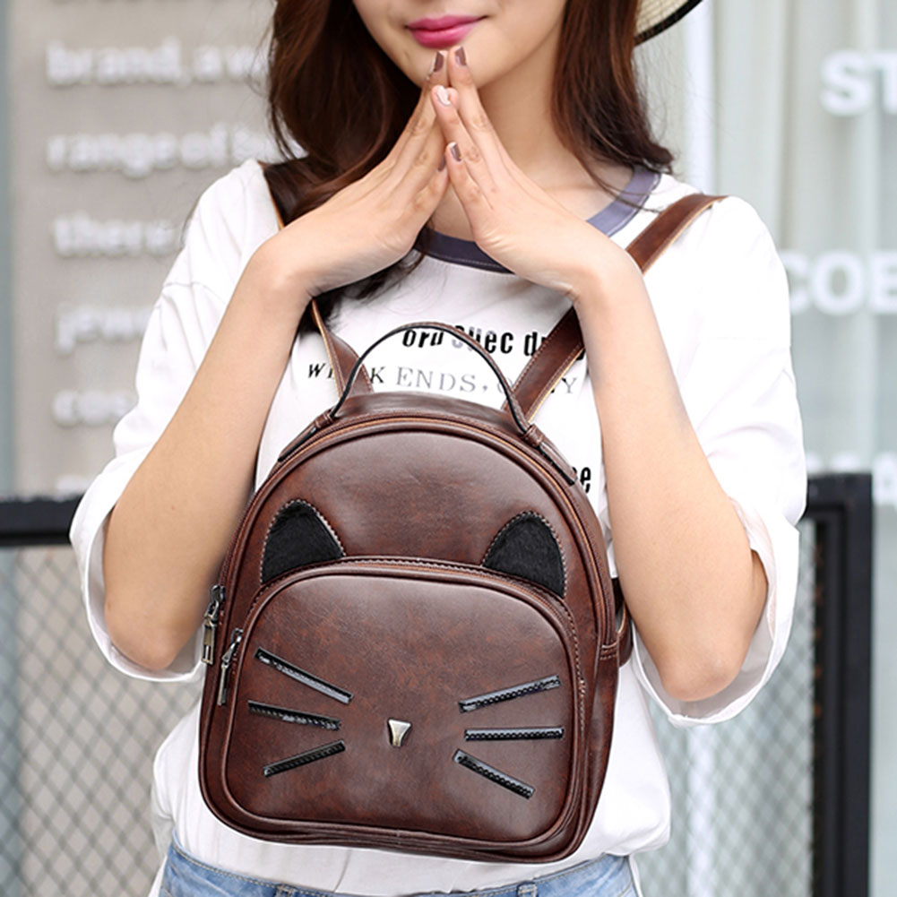 Design Pu Leather Backpack Women For Teenage Girls School Lady's Small Vintage Cat Back Pack Travel Bags #3