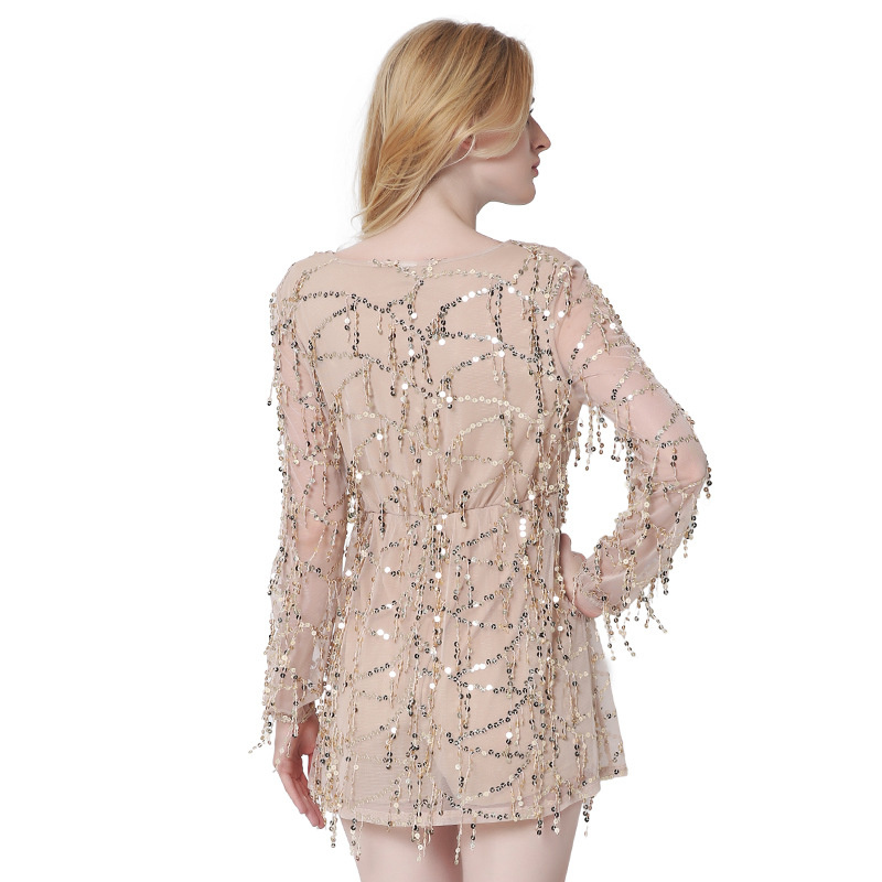 Spring Summer Lace Embroidery Sequined Dress Lady Black White Gold Dress  Sexy Deep V Neck Long Sleeve Party Dress Women BA101 30d2c47a2