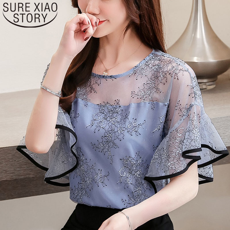 a01949186bab64 Fashion women blouse and tops 2019 white blouse shirts ladies tops lace  blouse harajuku shorts sleeve