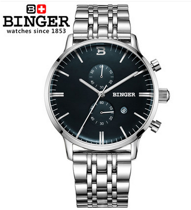 Фото New watches men luxury brand Binger military army outdoor sport watches Dual Time Quartz Digital Watch Leather band wristwatches