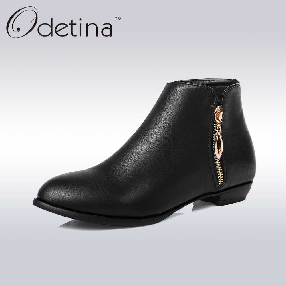 Odetina Spring&Autumn Women Low Heel Ankle Boots Side Zipper Ladies Short Black Booties Fashion Non-slip Women Shoes Large Size xiuningyan flat black ankle boots for women kid suede short boots women female fashion low heel hademade ladies booties 2018 new