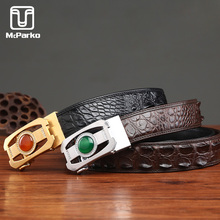 McParko Leather Belt Men Automatic Buckle Real Alligator Genuine leather Crocodile for men Luxury Brand jade agate belts