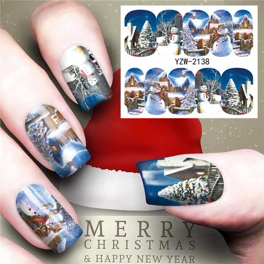 الأزرق رجل عيد الميلاد الملونة Hristmas شجرة مسمار ملصقا الشارات المياه مسمار بريق نقل زينة عصريّة للأظافر