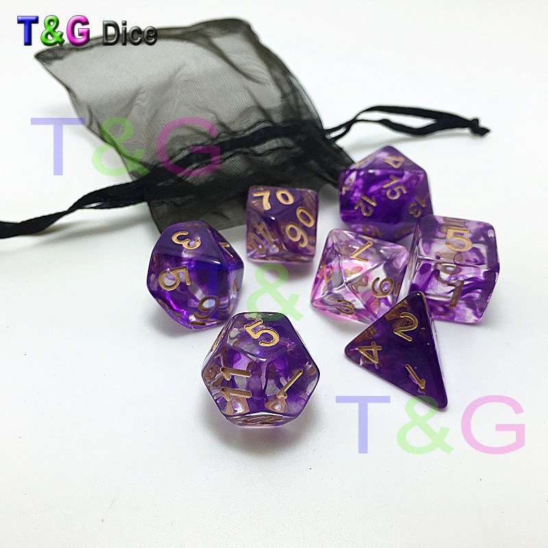 Brand New Dice Polyhedral Nebula 7pcs/Set For D&d Game And BAG Rpg  Gift Toys D4 D6 D8 D10 D12 D20