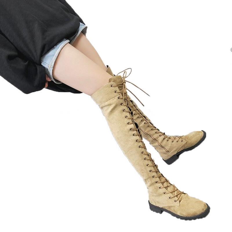 pelle marrone nero in scarpe invernali kaki inferiore spesso Overknee con Lace cerniera autunno lato Donne Up EqCSx