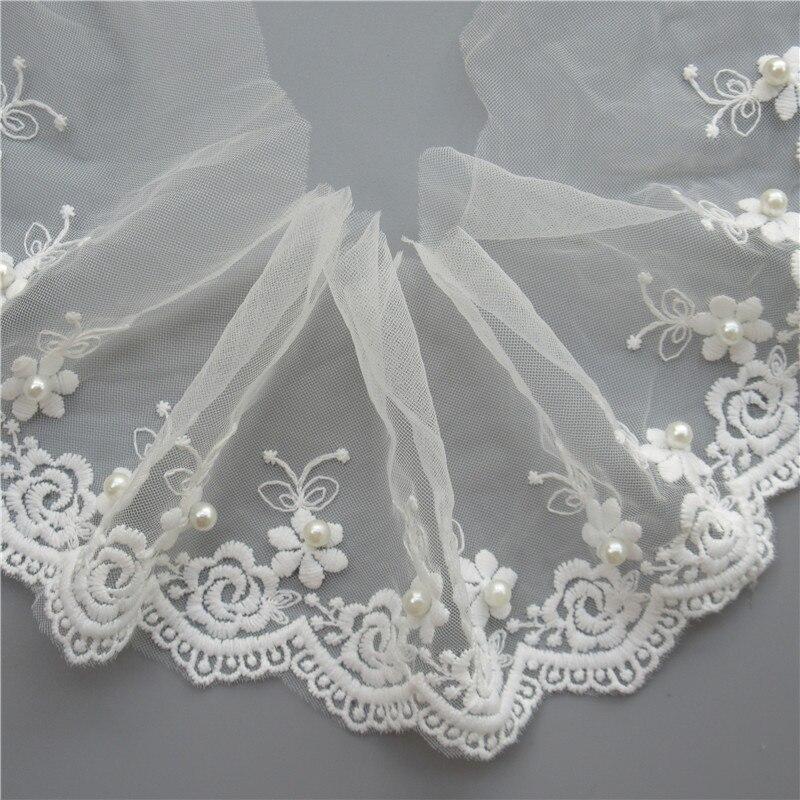 Décorations, détails Broderie robe de mariée bordure en dentelle fleurs perles robe de mariage voile Trim Ribbon Garnitures
