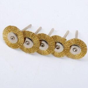 Image 5 - DRELD cepillos de rueda de alambre de latón, 5 uds., 25mm, accesorios Dremel, Mini taladro, pulido para amoladora, herramientas rotativas, vástago de 3,17mm