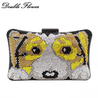 Double Flower Puppy Dog 3D Pattern Women Crystal Clutch Evening Handbags and Purses Hard Case Metal Minaudiere Wedding Party Bag