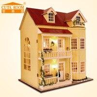 Promo Casa de DIY para muñecas de juguete de madera Miniatura casas de muñecas en Miniatura juguetes de casa de muñecas con muebles luces LED Regalo de Cumpleaños A010