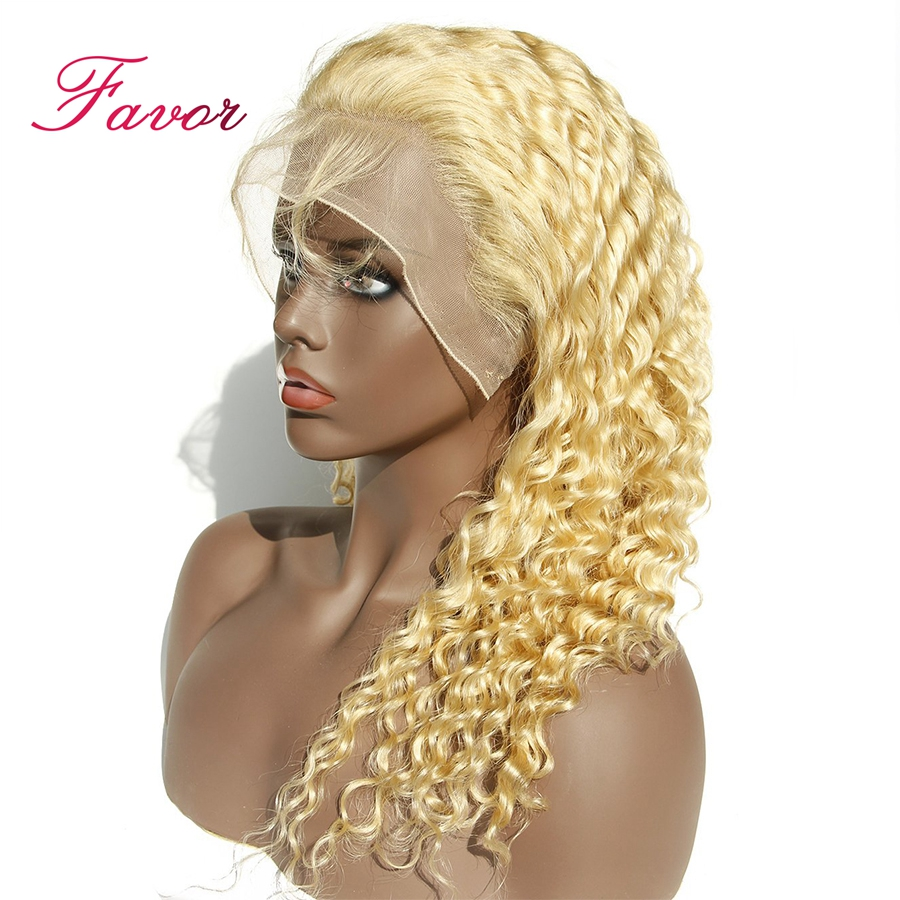 613 Blonde Lace Front Wigs With Baby Hair Remy Brazilian Deep Wave Human Hair Wigs Pre
