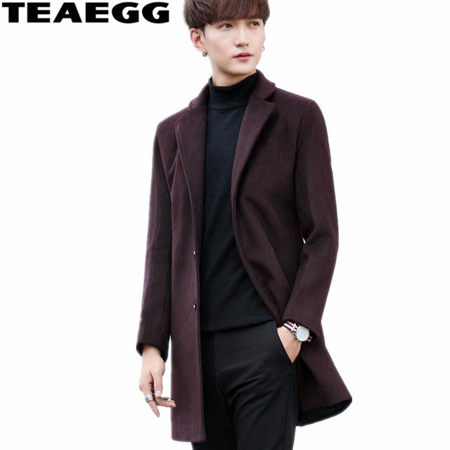 TEAEGG Turn Down Collar Casual Winter Wool Coat Men Blends Abrigo Hombre Invierno Thick Wine Red Mens Overcoat Outwear AL576