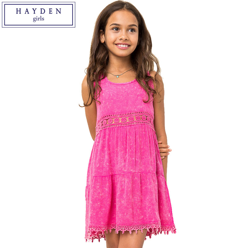 HAYDEN Girls Sleeveless Dresses Summer Style Vest Dress for Big Teenager Girl Kids Shift Sundress with Lace Tassel Size 7 to 14Y