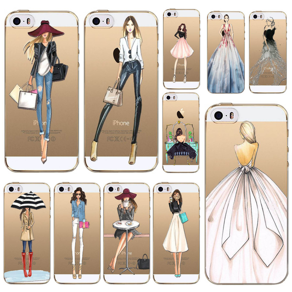 Back Cases cover For iphone 6 6s 6P 7 4 4s 5 5s SE 5C 7plus Modern Fashion Shopping Girls Patterns Soft TPU Cases Cover fundas