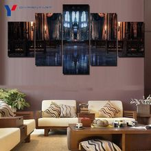 Diy Painting 5 Panels Posters and Prints Inside a Gothic   Cathedral Canvas Painting Home Decoration Wall Art