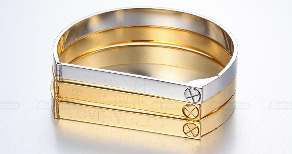 Enfashion Personalized Engraved Name Bracelet Gold Color Bar Screw Bangle Lovers Bracelets For Women Men Cuff Bracelets Bangles 16
