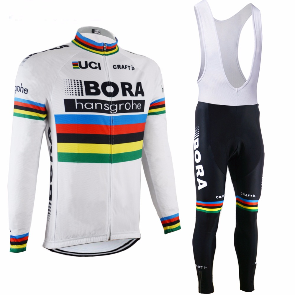 2017 BORA Men's Spring/Autumn Long Sleeve Pro Cycling Jersey Set Team Bike Clothes Ropa Maillot Ciclismo with 9D Gel Pad 2017pro team lotto soudal 7pcs full set cycling jersey short sleeve quickdry bike clothing mtb ropa ciclismo bicycle maillot gel