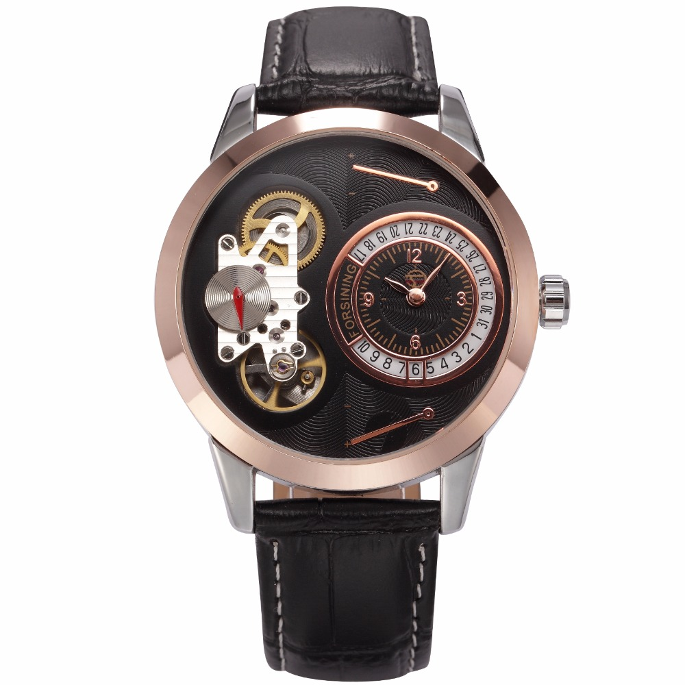 FORSINING Brand Fashion Casual Mens Watches Luxury Rose Gold Black Dial Leather Belt Mechanical Quartz Wristwatches Clock Men forsining fashion brand men simple casual automatic mechanical watches mens leather band creative wristwatches relogio masculino