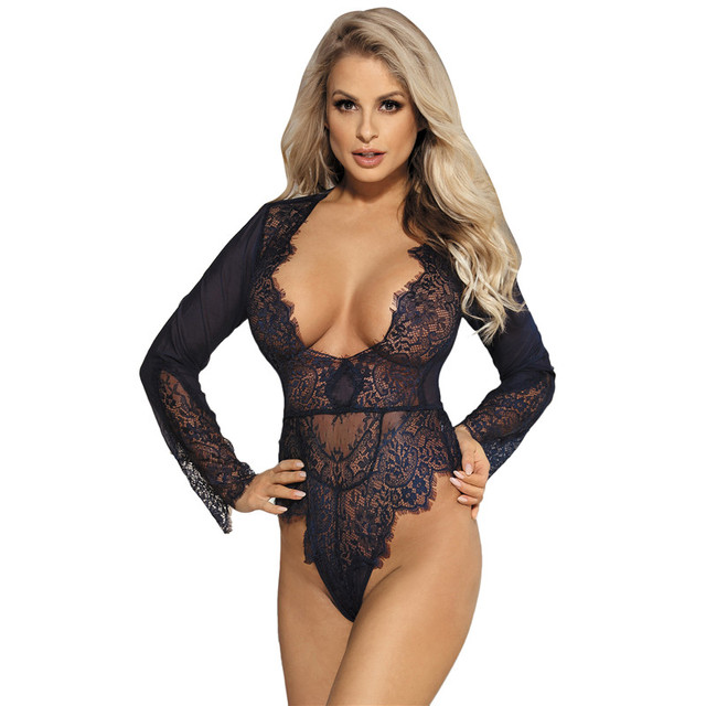 ddf525f06cd0 Sheer mesh long sleeve bodysuit women sexy deep v neck sexy romper  jumpsuits plus size body feminino lace bodysuit RW80400