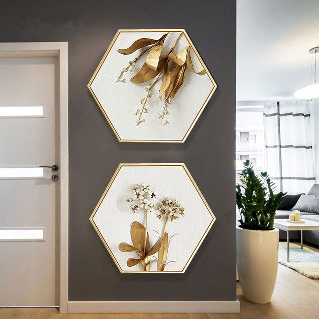Nordic style Entrance decoration painting hexagonal paintings living room sofa wall painting color life golden plant mural