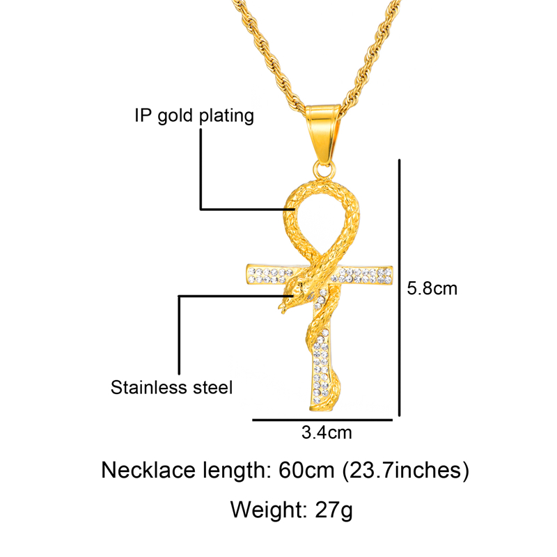 HIP Hop Cross Rhinestone Snake Iced Out Bling Necklaces Pendants Men Key of Life Pendant Link Chain Necklace For Men Jewelry in Pendant Necklaces from Jewelry Accessories